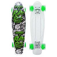 Пенни борд подростковый 56*15 Penny Board с гелевыми светящимися прозрачными зелеными колесами цветной принт