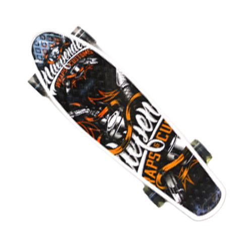 Пенни борд подростковый 56*15 Penny Board с гелевыми светящимися прозрачными черными колесами цветной принт - фото 4