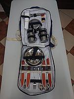 Набор посуды, для пикника на 4 Персоны! Металлическая посуда, изотермический отдел!