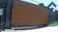 Откатные ворота 5000х2500 золотой дуб сэндвич-панели. Калитка 1000х2500, фото 1