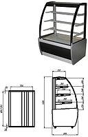 Кондитерская витрина серого цвета Carboma ВХСв-1,3Д (Техно)
