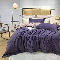 Комплект постельного белья SATIN LUX однотонное с контрастным отворотом и простынью