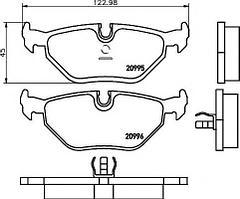Колодки TEXTAR 2099501 задние BMW 5-Series (E34) (01/88-09/95), 3-Series (E36) M3 (08/94-02/98)