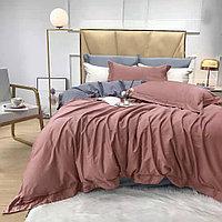 Комплект сатинового постельного белья king-size двуспальный однотонный с контрастным отворотом и простынью