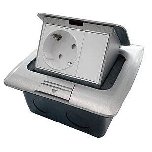 Shelbi Напольный/настольный лючок на 3 модуля, металл, серебро