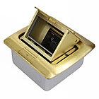 Shelbi Напольный/настольный лючок на 3 модуля, металл, золото, фото 3