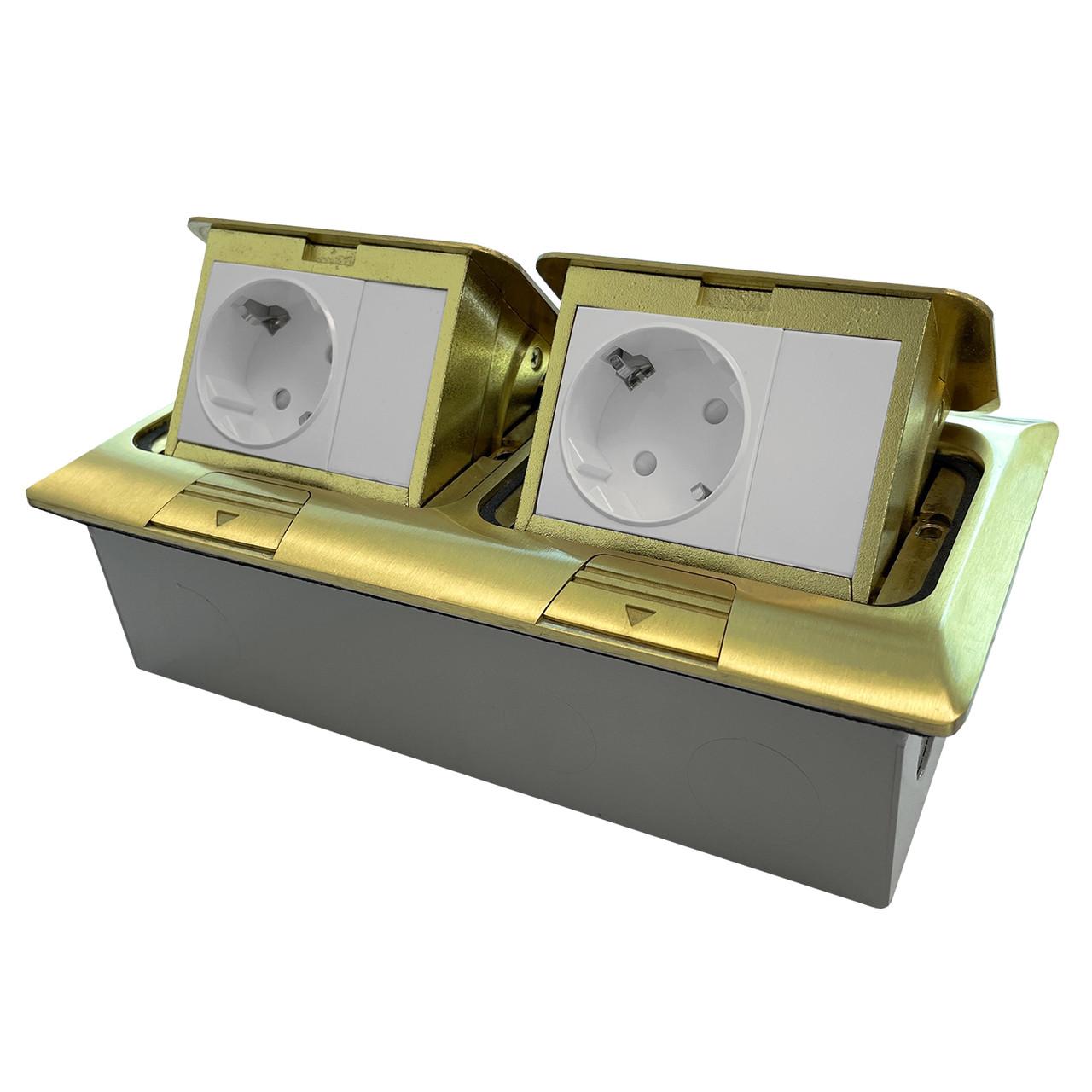 Shelbi Напольный/настольный лючок на 2х3 модуля, металл, золото