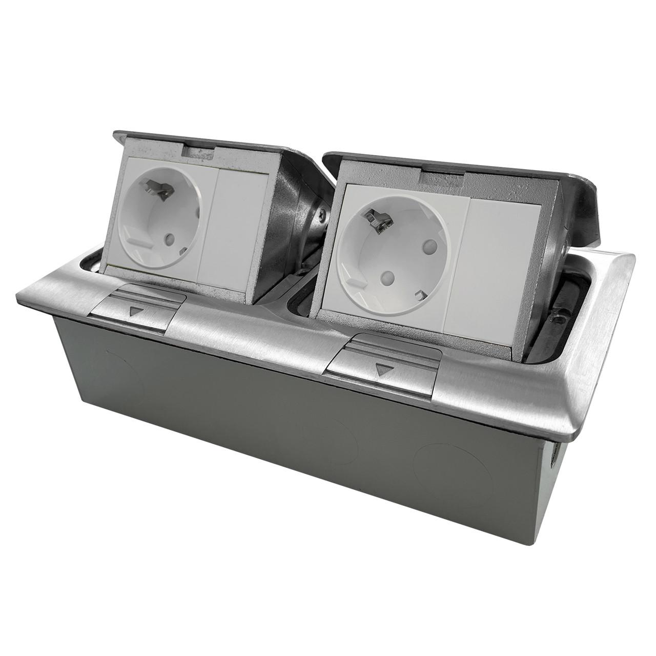 Shelbi Напольный/настольный лючок на 2х3 модуля, металл, серебро