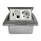 Shelbi Напольный/настольный лючок на 4 модуля, металл, серебро, фото 3