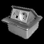 Shelbi Напольный/настольный лючок на 4 модуля, металл, серебро, фото 5