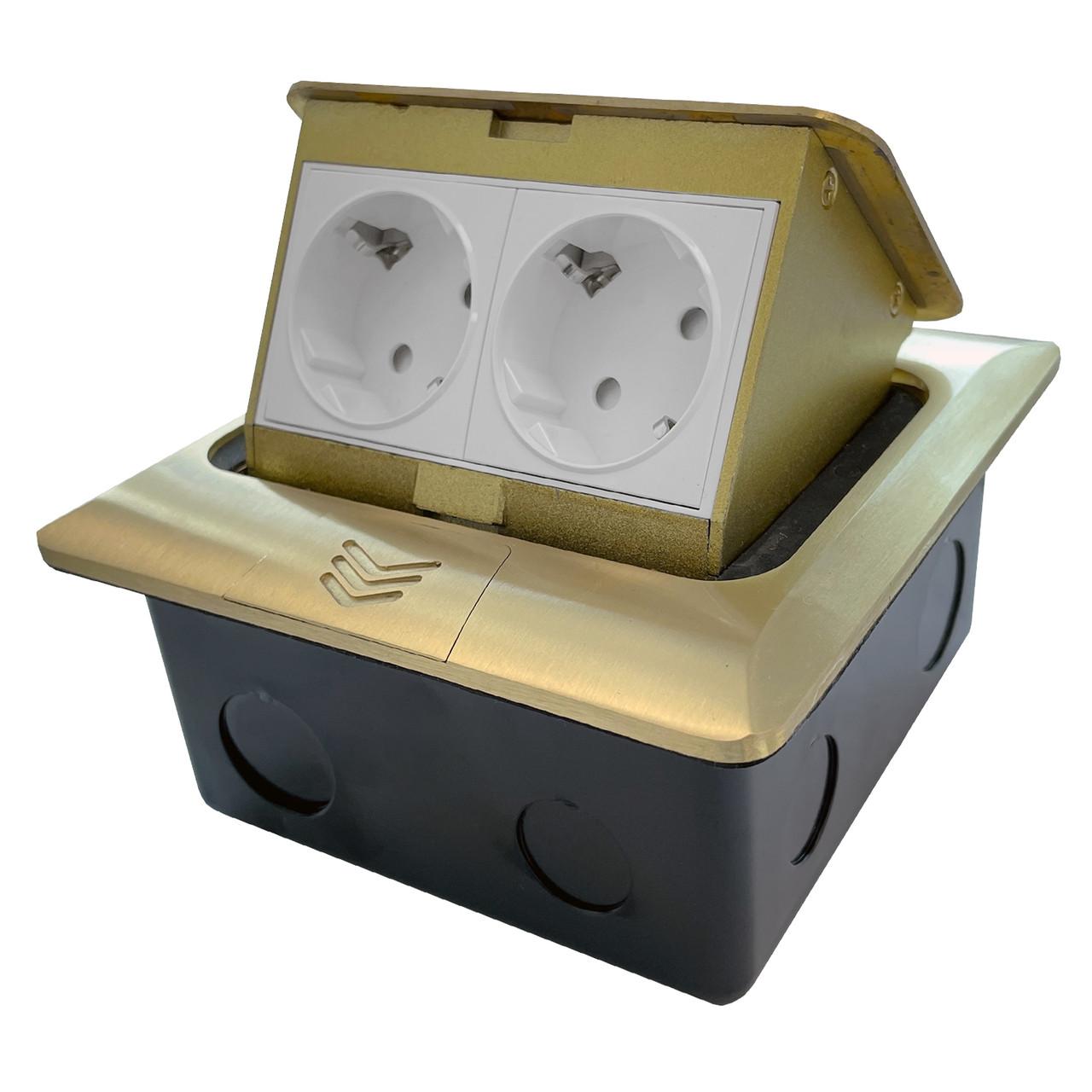 Shelbi Напольный/настольный лючок на 4 модуля, металл, золото