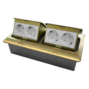 Shelbi Напольный/настольный лючок на 2х4 модуля, металл, золото