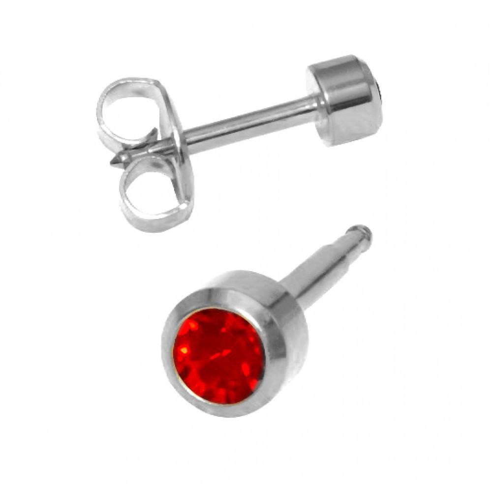 Медицинские серебряные серьги Caflon гранат - фото 1