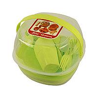 Набор пластиковой посуды для пикника 48 предметов Дачный сезон!