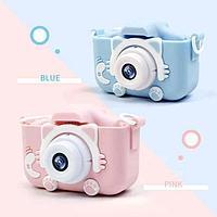 Детский цифровой фотоаппарат Childrens Fun Camera Kitty, розовый, голубой, фото 1