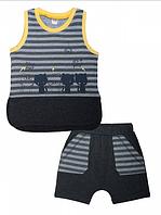 Комплект для мальчика (майка,шорты) антра-меланж