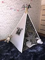 Детская палатка вигвам 4х гранный Серый Зведочет