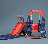 Детская горка машинка с качелей синий/красный, фото 1
