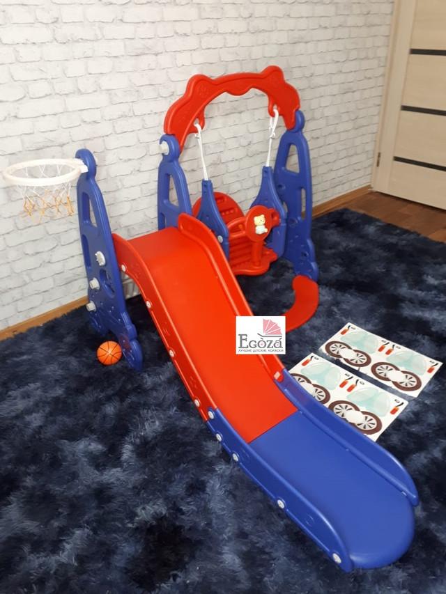 Детская горка машинка с качелей синий/красный