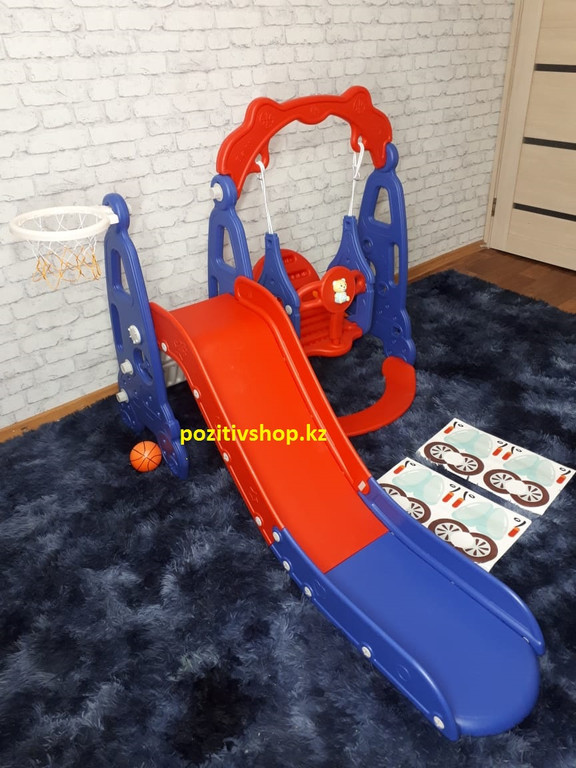 Детский комплекс с горкой и качелей машинка