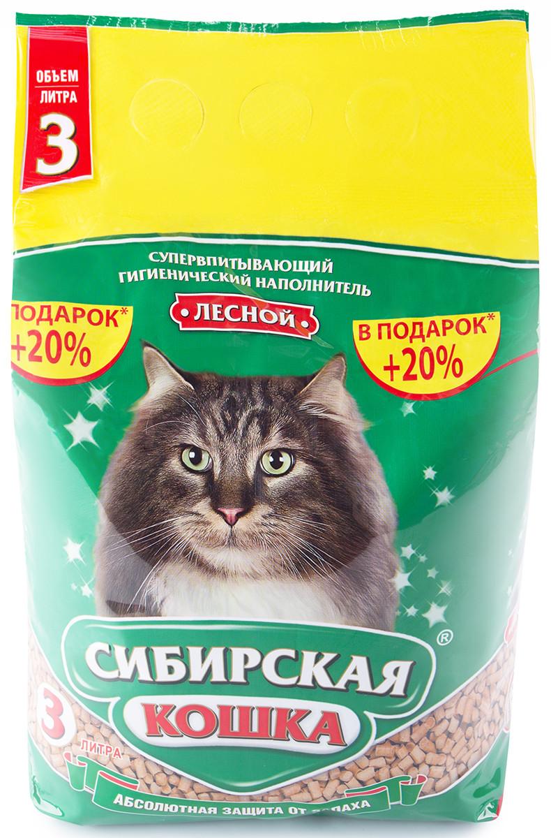Сибирская кошка Древесный наполнитель, 3 л