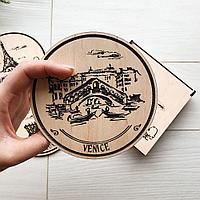 Подставки под кружку из дерева с брендированием