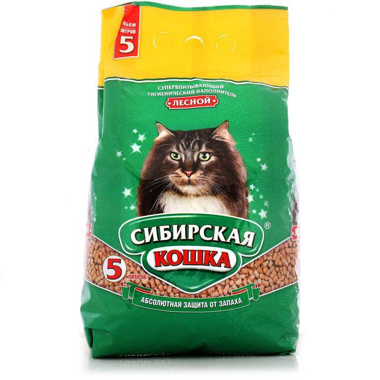 Сибирская кошка Древесный наполнитель, 5 л