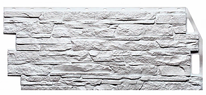 Фасадные панели Мелованный белый 1090x460 мм ( 0,43 м2) Скала FINEBER