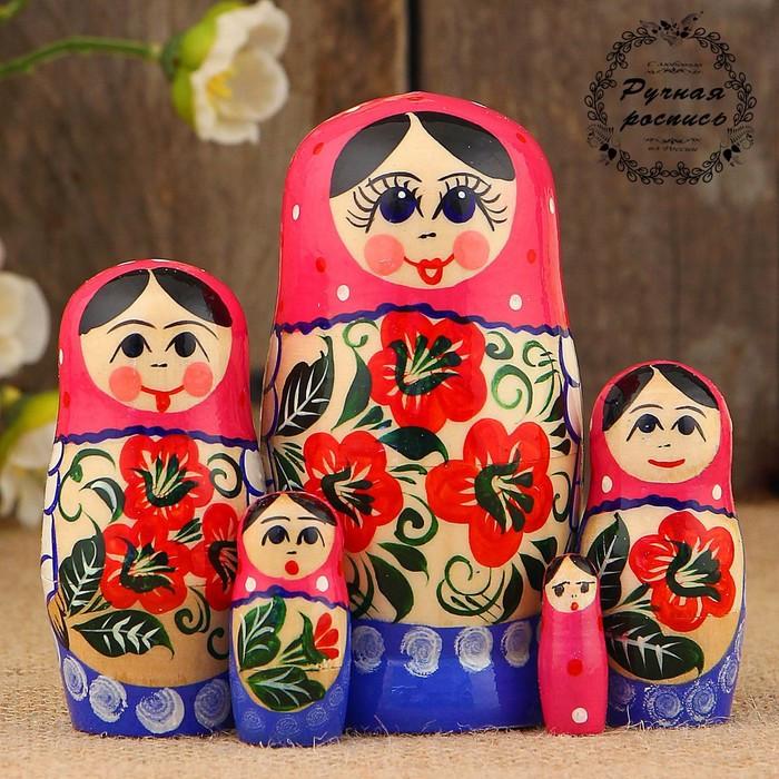 Матрёшка «Василиса», красно-розовый микс, 5 кукольная, 12 см