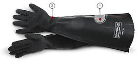 Перчатки резиновые, 600 мм, RGA текстильная подкладка, текстурированные