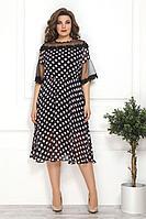Женское летнее шифоновое черное большого размера платье Solomeya Lux 802 черный+розовый 48р.