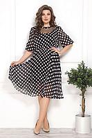 Женское летнее шифоновое черное большого размера платье Solomeya Lux 792 черный+розовый 48р.