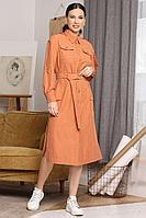 Женское осеннее оранжевое платье Мода Юрс 2648 терракот 48р.