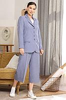 Женский осенний голубой нарядный брючный костюм Мода Юрс 2659 голубой 46р.