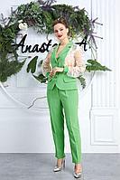 Женский осенний кружевной зеленый нарядный большого размера брючный костюм Anastasia 544 салатовый 50р.