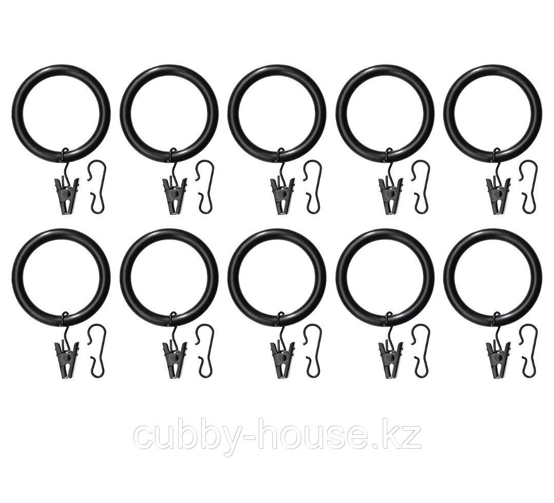 СИРЛИГ Гардин кольцо с зажимом и крючком, белый, 38 мм