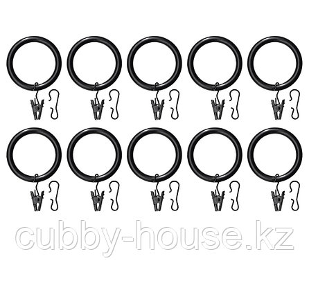 СИРЛИГ Гардин кольцо с зажимом и крючком, белый, 38 мм, фото 2