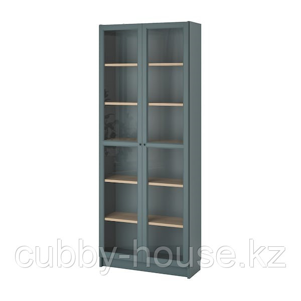 BILLY БИЛЛИ Шкаф книжный со стеклянными дверьми, серо-бирюзовый/дубовый шпон, беленый80x30x202 см