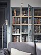 BILLY БИЛЛИ Шкаф книжный со стеклянными дверьми, серо-бирюзовый/дубовый шпон, беленый80x30x202 см, фото 2