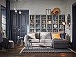 BILLY БИЛЛИ Шкаф книжный со стеклянными дверьми, серо-бирюзовый/дубовый шпон, беленый80x30x202 см, фото 3
