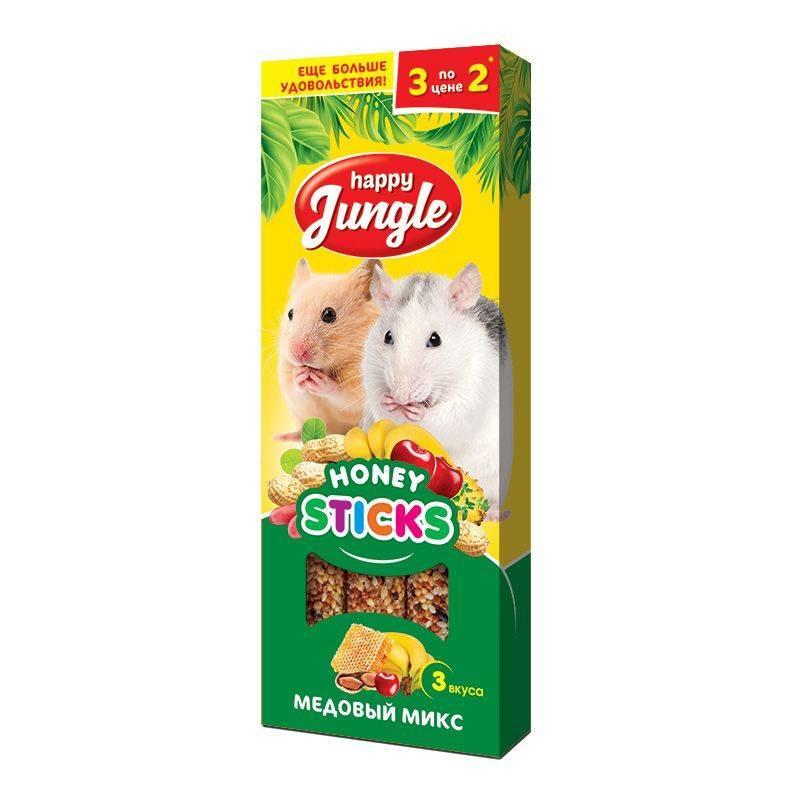 Лакомство для мелких грызунов Happy Jungle Палочки медовый микс