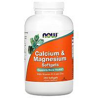 Now Foods, кальций и магний с витамином D3- и цинком, 240 мягких таблеток