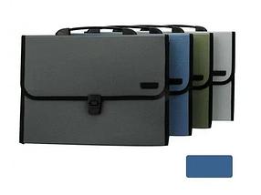 Папка-портфель DELI, с ручкой 12 отделений, синий