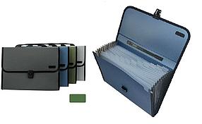 Папка-портфель DELI, с ручкой 12 отделений, зеленый