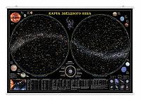 """Карта настенная на рейках """"Звездное небо/Планеты"""" 124х80 см."""