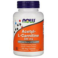 Now Foods, Ацетил-L-карнитин, 500 мг, 100 растительных капсул