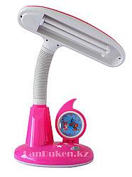 Детский светильник ночник с часами (розовый)