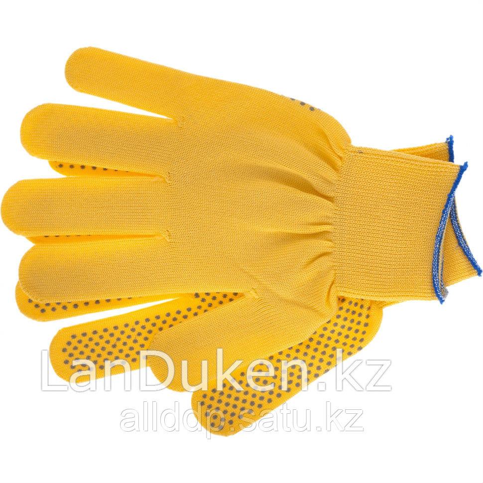 """Перчатки нейлон ПВХ точка 13 класс цвет """"лимон"""" L 67827 (002)"""
