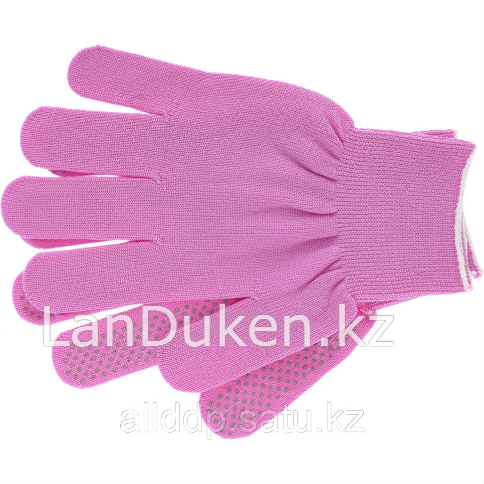"""Перчатки нейлон ПВХ точка 13 класс цвет """"розовая фуксия"""" L 67826 (002)"""