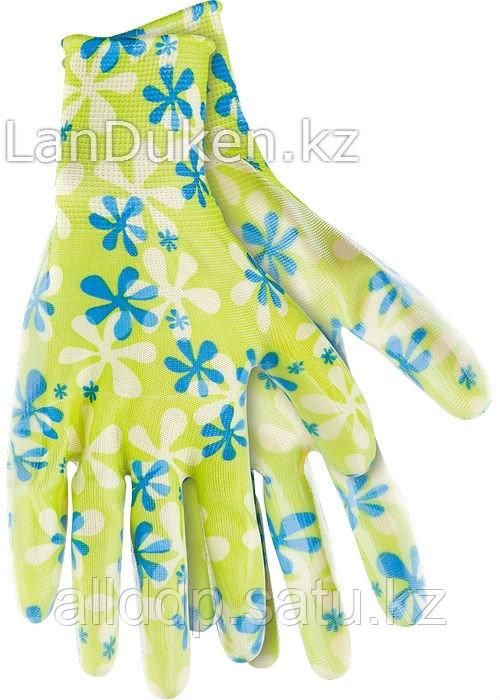 Перчатки садовые из полиэстера с нитриловым обливом зеленые M PALISAD 67742 (002)